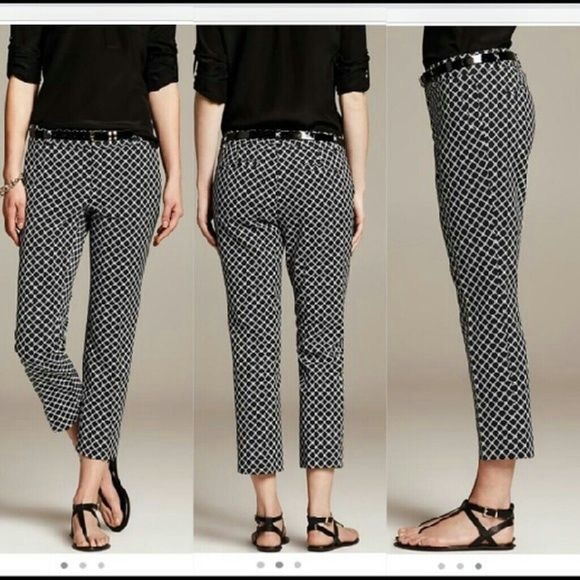 7c8ca4ecb7e Banana Republic Hampton Black Diamond Pattern Pant